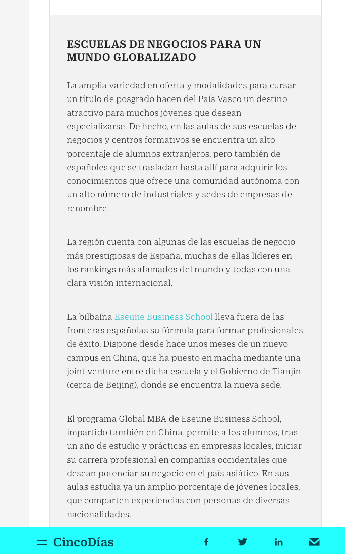 ce79b67fd ESEUNE as one of the top Business School in Spain for a global world at the  Cinco Días newspaper ...